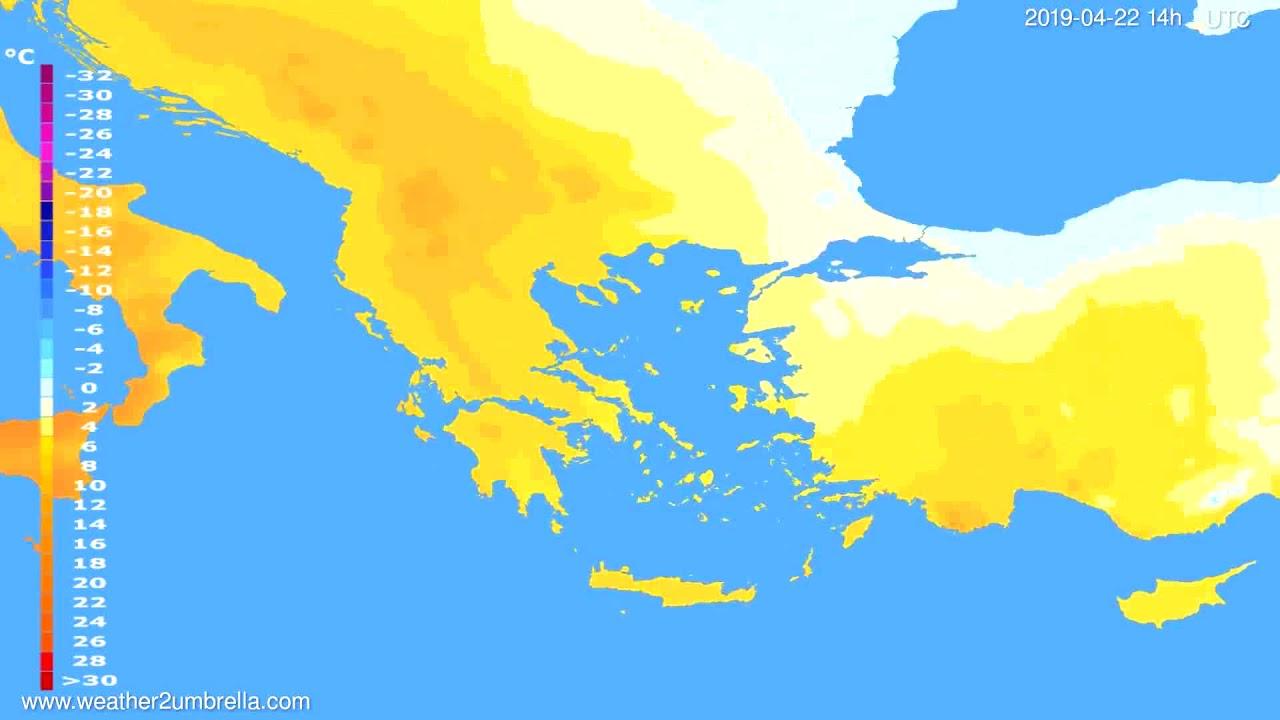 Temperature forecast Greece // modelrun: 00h UTC 2019-04-20