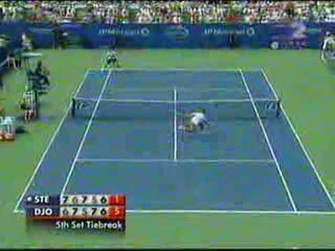 Novak Djokovic y Radek Stepanek en el US Open 2007