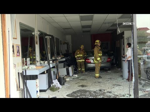 Mercedes Slams Into Nail Salon Injuring Three In Los Angeles