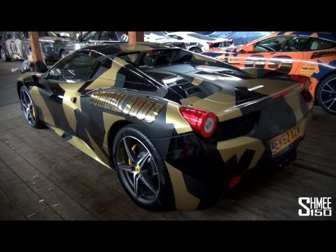 Gumball 3000 2013: Team Battery Energy Ferrari 458 Spider - Black and Gold Camo_Best videos: Football