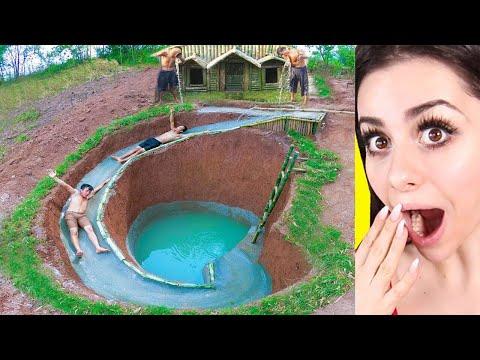 Kids Build AMAZING Water Slide Around Their SECRET UNDERGROUND HOUSE !