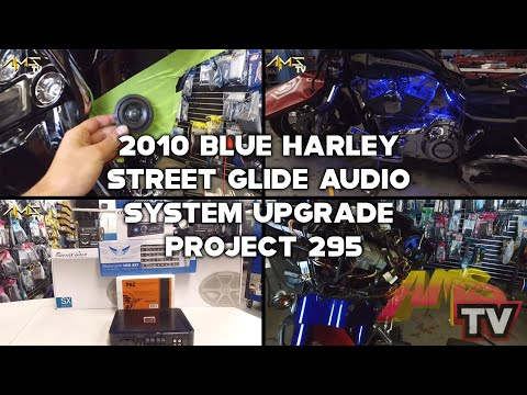 2010 Blue Harley Street Glide audio system upgrade. Project 295