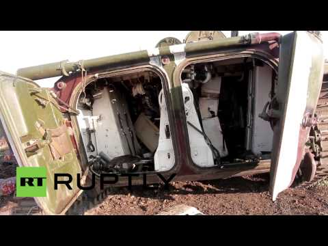 Army - Video ID: 20140829-004 M/S APC wreckage M/S BMP-1 tracked infantry fighting vehicle turret C/U Wheels BMP-1 tracked infantry fighting vehicle M/S Wreckage M/S Wreckage M/S Wreckage M/S...