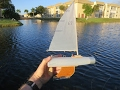 DIY shampoo bottle toy boat sails good & costs pennies