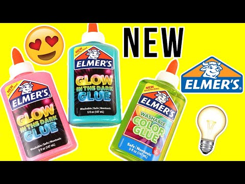 TESTING NEW ELMER'S GLUE FOR SLIME!!! GLOW IN THE DARK GLUE! COLORED CLEAR GLUE! 💦