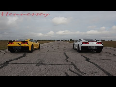 Street - What's the difference between a stock C7 Corvette and an HPE700 Supercharged C7 Corvette? About 10 car lengths at 130 mph. +1.979.885.1300 | http:www.HennesseyPerformance.com #stocksucks...