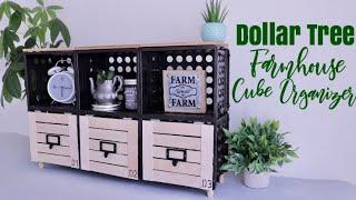 DOLLAR TREE DIY Farmhouse Cube Organizer