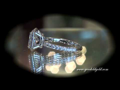 GOG Custom Made Engagement Rings: Hand Made Halo Setting with Radiant Cut
