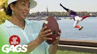 Flying Football Catch Fail, Just for laughs, Just for laughs gags, Just for laughs 2015