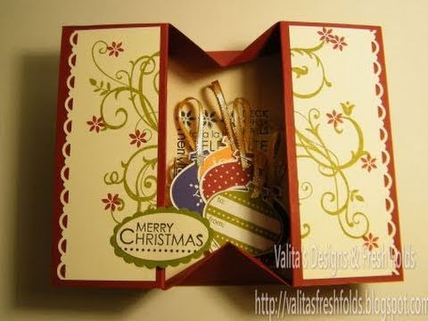 Making a simple Box card:  read more om my bloghttp://valitasfreshfolds.blogspot.com/2010/11/making-simple-box-card.htmlthe overall card size is 29cmx21cm so you should cut 7mm or 5/16th