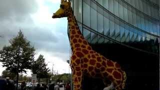 Steinen Germany  city pictures gallery : Berlin Germany - Riesige Giraffe aus Lego-Steinen vor dem Sony-Center (720p HD)