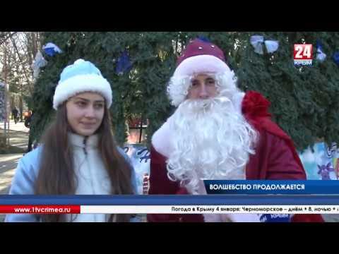 Дед Мороз вместе со своей свитой провёл в Детском парке Симферополя сказочное представление