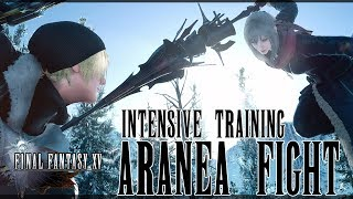 Beating Intensive Training (Aranea Highwind Boss Fight) without items or a HUD.This battle isn't too hard once you figure out her attack patterns.  The best thing to is to do a slide shot which allows you to effectively dodge while attacking.  Be sure to use Trigger Happy when she is recovering or performing an attack to maximized damage.  She can dodge the skill if you randomly fire it off.  Use crackshot whenever you get the chance since it does a lot of damage.There isn't much to this fight once you get use to the rhythm.  Good luck!  Be sure to like and subscribe for more jRPG videos.  If you have any comments or extra advice, feel free to leave a comment on what worked for you.