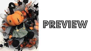 2017 Preview of Halloween Wreath Tutorial with Orange Pumpkin Kids