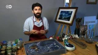 Artista turco Garip Ay pinta Van Gogh sobre a água