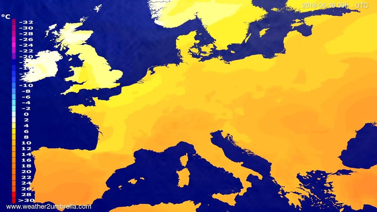 Temperature forecast Europe 2018-06-14