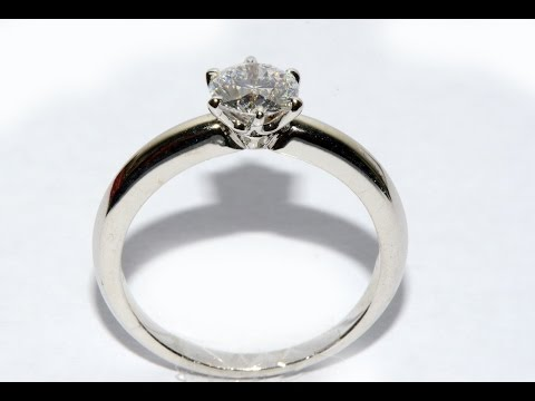 Tiffany model  Diamond ring handmade gold 18k white gold