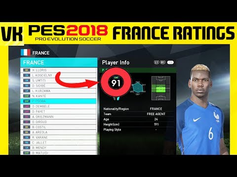 PES 2018 Online Beta - France Player Stats, Ratings, Skills, Playing Style and Overall