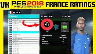Here is a video showcasing the France Player ratings and overall's. Please remember the stats are subject to change. These are not final.Welcome to the #1 Place for Player Faces on Youtube! Subscribe for FIFA 18 and PES 2018 news and player faces videos: 🔴  Subscribe to the channel here: https://goo.gl/AaHRHe .✅  Join the Vapex Club for exclusive newsletters and 2 Private videos (FIFA 18 player face suggestions and PES 2017 Mods): http://eepurl.com/cO1skn✅  Help keep this channel going!https://www.patreon.com/VapexKarma---------------------------------------------------------Available September 29, 2017. FIFA 18 is fueled by Cristiano Ronaldo, all-time top scorer of Real Madrid C.F. and winner of the Best FIFA Men's Player Award.Pre-Order the Ronaldo Edition and get 3 Days Early Access: http://smarturl.it/qoctk5Powered by Frostbite, FIFA 18 blurs the line between the virtual and real worlds, bringing to life the heroes, teams, and atmospheres of the world's game. --------------------------------------------------------PES 18 (PES 2018) is scheduled to be released on the 14th of September.Pre-order now to receive exclusive content:• 2x Premium Partner Agents for myClub• UCL Agent for myClub• Exclusive Agent for myClubYou will also receive bonus myClub content:• 4x Start Up Agents• 1x Partner Club Agent• 10,000 GP x 10 weeksPES 2018 new features:• Gameplay Masterclass – Strategic Dribbling, Real Touch+ and new set pieces take the unrivalled gameplay to the next level• Presentation Overhaul – New menus and real player images• PES League Integration – Compete with PES League in new modes including myClub• Online Co-op -A mode dedicated to co-op play is newly added• Random Selection Match – Fan favourite returns with new presentation and features• Master League Upgrade – New pre-season tournaments, improved transfer system, presentations and functionality • Enhanced Visual Reality – New lighting, reworked player models and animations covering everything from facial expressions to body movement to bring the game to life----------------------------------------------------------► Subscribe to my Other Channel https://www.youtube.com/channel/UC-OlFXbaW43YlKqfVy1Tp6g►2nd Channel featuring non player faces content (uploads occasionally): https://www.youtube.com/channel/UCjXed8aFG8cxnYm0iNQraWg?tbft=1►If you would like to Donate (just like Twitch) to support my content :  https://streamtip.com/y/vapexkarma--------------------------------------------------------► Twitter: @vapexkarma ► Facebook: @vapexkarma► Instagram: @vapexkarma► Podcast: anchor.fm/vapexkarma----------------------------------------------------------► My Best videos: https://www.youtube.com/playlist?list=PLeVkMvUsXzoEdcbKCQIIUxwTNvppKYBQo► PES 2017: Inter Milan Master League: https://www.youtube.com/playlist?list=PLeVkMvUsXzoHZBuaHdW8ieM1ROA3xD6p9► FIFA 17 vs PES 17 Player Face Comparisons: https://www.youtube.com/playlist?list=PLeVkMvUsXzoFjICBaqUzkwoDYbuLribm4----------------------------------------------------------FIFA 17 is a sports video game made by EA Sports released on the 27th of September 2016 in America and 29th September 2016 worldwide. It uses the Frostbite engine and Marco Reus is the official cover star. Available on PS4, PS3, Xbox One s, Xbox one, Xbox 360 and PC.----------------------------------------------------------Pro Evolution Soccer or PES 2017 (also known as Winning Eleven 2017 in asia) is a sports video game made by Konami for Microsoft Windows, PlayStation 3, PlayStation 4, Xbox 360 and Xbox One. The game is the 16th installment in the Pro Evolution Soccer series. It was released in September 2016 and will be compatible with PS4 Pro console. Partner clubs include Barcelona, Liverpool, Borussia Dortmund and River Plate which means they have the official stadiums and kits as well as player names.Features include improved passing, Real Touch ball control, and improved goal tending technique. The cover of the game has Neymar, Messi, Suárez, Rakitić and Piqué.Game features include adaptive AI, edit and data sharing (through option files) and Match analysis.----------------------------------------------------------------------------------Production Music courtesy of Epidemic Sound: http://www.epidemicsound.com----------------------------------------------------------------------------------#PES2018 #FIFA18 #vapexkarma #playerfaces #PES2017 #FIFA17