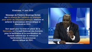 Kinshasa, 17 juin 2016 : Message de Frédéric Boyenga Bofala sur la relance de l'initiative du dialogue