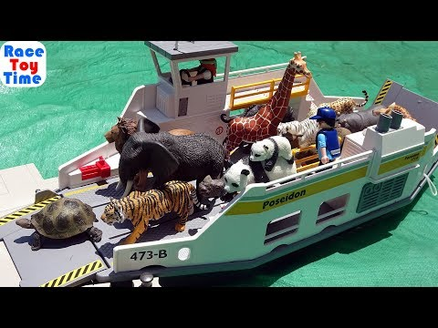 Toy Animals In A Ferry Boat    Fun Animals Toys For Kids