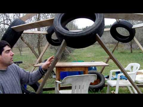experimento con neumáticos y madera de palets
