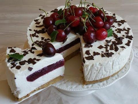 torta fredda con gelèe di ciliegie, senza cottura - ricetta