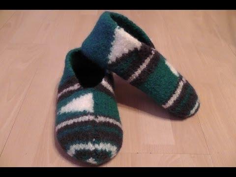 Pantoffeln, Hausschuhe für Männer stricken und filzen – Gr. 42 / 43