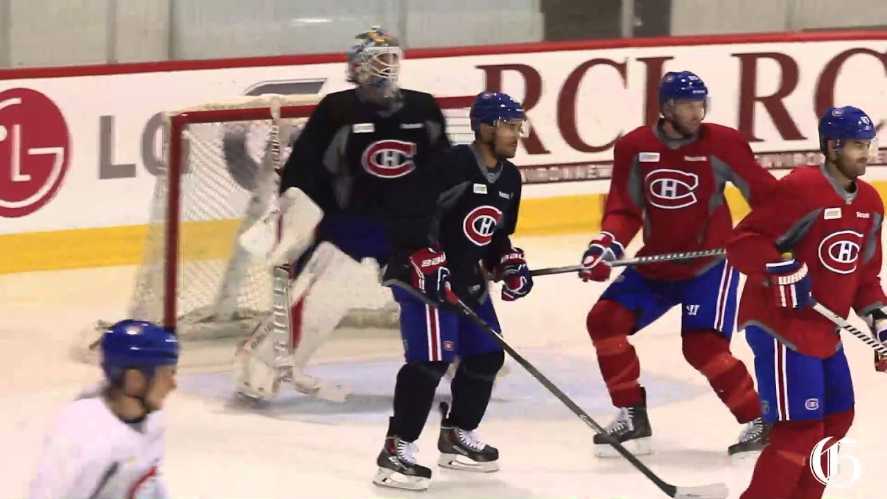Montreal Canadiens practice before leaving for Boston