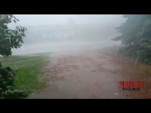 R3DLIN3S - Guy Runs Through Hail Storm - Alberta Flooding 2013 Hail and lightning thunderstorms storm in raymond alberta canada. R3DLIN3S redlines red lines.