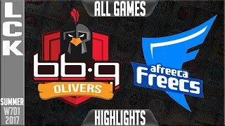 bbq Olivers vs Afreeca Freecs ALL GAMES Highlights - Week 7 Day 1 LCK Summer 2017 - BBQ vs AFSLCK teams: Afreeca Freecs, bbq Olivers, Jin Air Greenwings, LongZhu Gaming, KT Rolster, MVP, Kongdoo Monster, ROX Tigers, Samsung Galaxy, SK Telecom T1LCK Spring 2017 playlist: https://www.youtube.com/playlist?list=PLJwuLHutaYuI5BdsTlhYB67MhL4VnO0w7☻All games spoiler free with stats and infographs at Stage: https://stage.gg/► All other previous tournaments: http://bit.ly/1WBqwLzKazaLoLLCShighlights -  bringing you fast highlights of LCS, LCK, LPL and LMS League of Legends Esports Matches every day♡♡♡♡♡♡♡♡♡♡♡♡♡♡♡♡♡♡♡♡♡♡♡♡♡♡♡♡♡♡✉ Social media below - Follow for regular updatesⓕⓑ  KazaGamez  ►http://on.fb.me/1N5j0EHⓖ+                            ►http://bit.ly/1Bpjrbaⓣⓦⓘⓣⓣⓔⓡ      ►Twitter      -  http://bit.ly/1BkVAtGⓣⓦⓘⓣⓒⓗ          ►Livestream: http://bit.ly/1BpjzYdⓓⓞⓝⓐⓣⓔ          ►Paypal: http://bit.ly/1cBU6JnSubscribe: http://bit.ly/1oZa2wJ