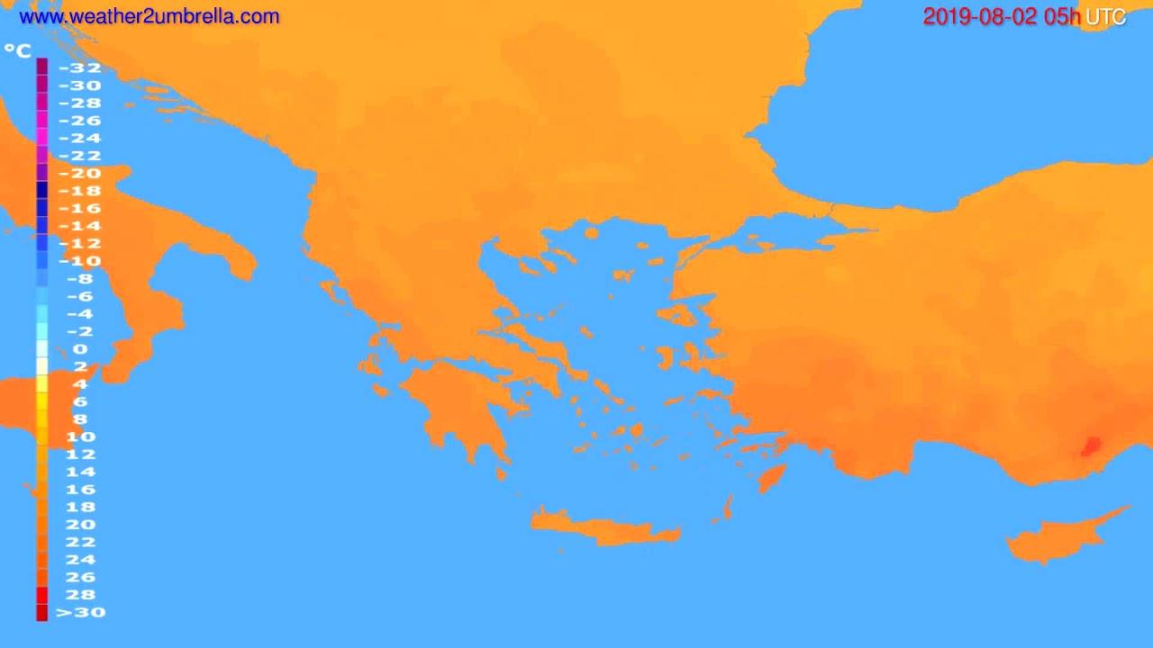 Temperature forecast Greece // modelrun: 00h UTC 2019-07-31