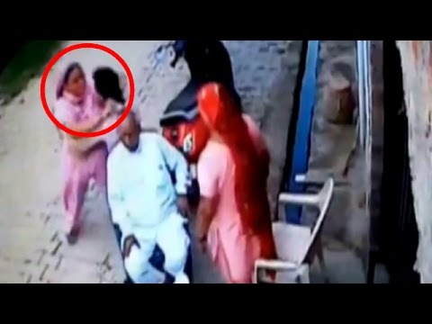 Gurgaon: Woman beats husband, in-laws, caught on CCTV