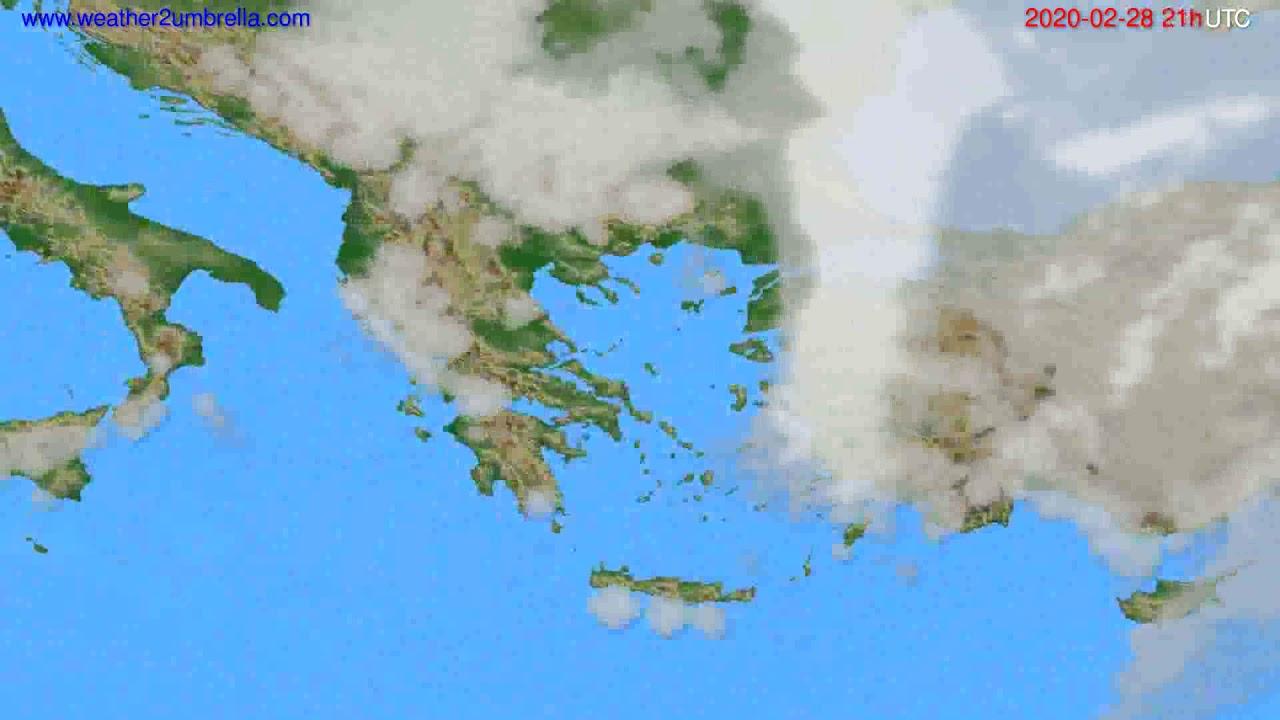 Cloud forecast Greece // modelrun: 12h UTC 2020-02-27