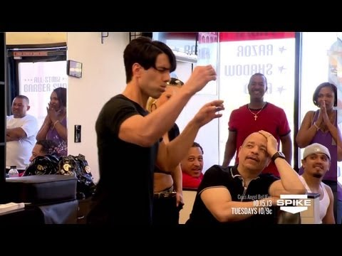 Criss - At a local barbershop with his pal Ice T, Criss swallows multiple razor blades, then a string separately, and fishes them out of his mouth...all strung toget...
