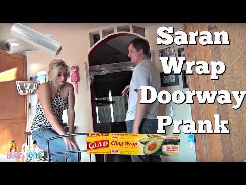 NIKKI EATS S*** (SARAN WRAP DOORWAY PRANK)
