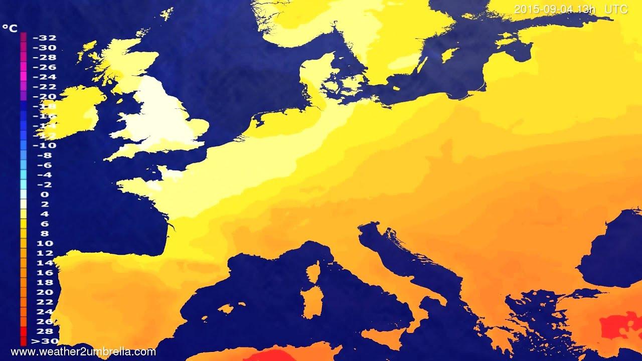 Temperature forecast Europe 2015-09-01