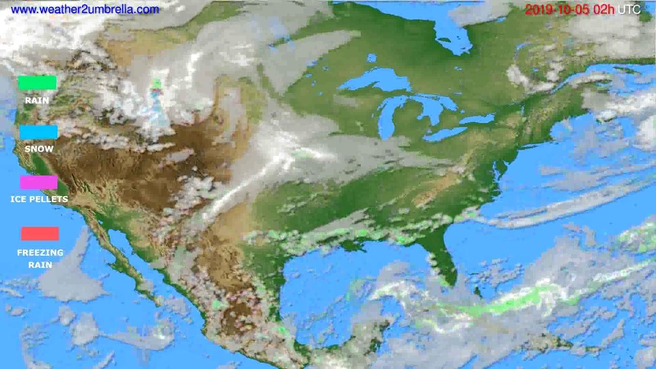 Precipitation forecast USA & Canada // modelrun: 00h UTC 2019-10-03