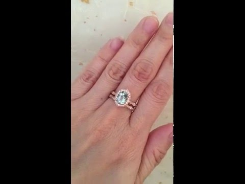Vintage Floral Oval Aquamarine Engagement Ring Bridal Set 14k Rose Gold by La More Design