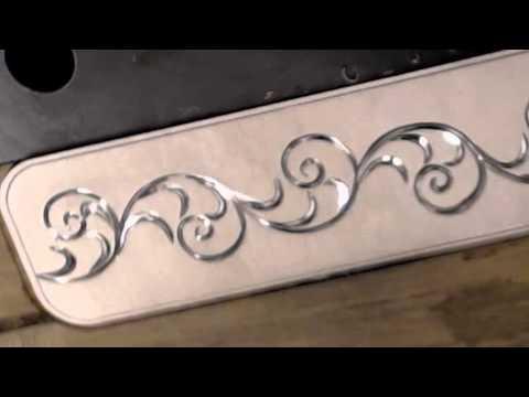 Flare Cut Silver Bracelet / Hand Engraved