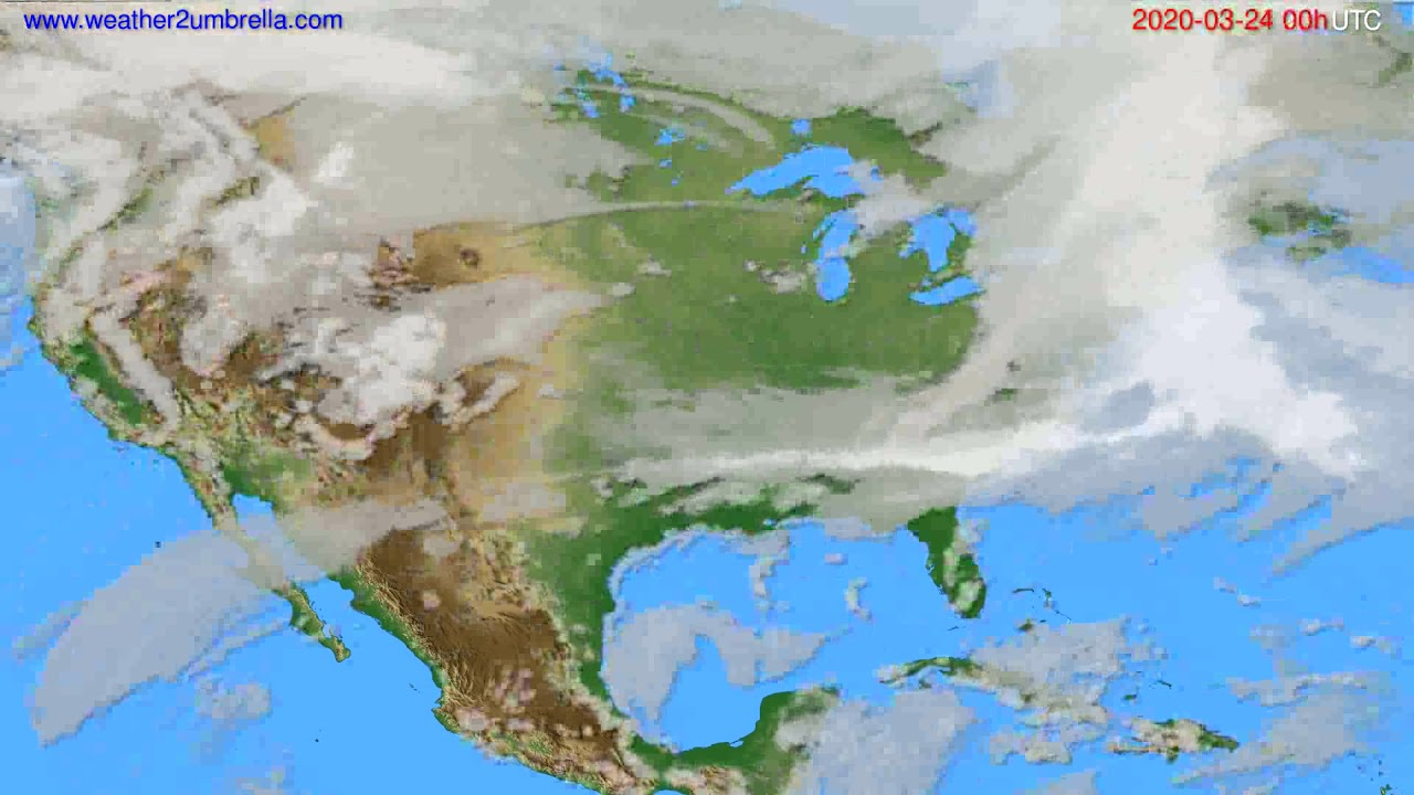 Cloud forecast USA & Canada // modelrun: 00h UTC 2020-03-23