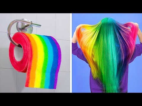 Cool Girly and Beauty Hacks / Rainbow Hacks and Crafts