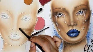 """In this Face Chart makeup drawing video, I show the slow build behind a complexion for beauty that takes a little patience starting on white paper. I decided to name her Cry Baby because well, with just a white liner you can create some realistic tears! I also imagine this lip is DGAF from melt. Swoon.Don't worry, this is a """"series"""" but I'm not only going to be doing these on my channel. They are just a great way to bring in a different element of my artistry to you guys! I will be throwing them in periodically! Let me know what you think, and please give it a thumbs up and a share if you enjoyed! :DFOLLOW ME:Instagram: @jordanhanzhttp://www.instagram.com/jordanhanzTwitter: @jordanhanzhttp://www.twitter.com/jordanhanzSnapchat: jordan_hanzFacebook: Jordan Hanzhttps://www.facebook.com/pages/Jordan-Hanz/295184987353909?fref=tsTwitch TV: Jordanhanzhttp://www.twitch.tv/jordanhanzPeriscope: @jordanhanz (for LIVE streaming)PRODUCTS USED:Mehron Makeup Contour & Highlight Pressed Powder PaletteMake Up For Ever Flash PaletteMake Up For Ever AQUA XL M-14 ink linerMake up For Ever Artist face Color in B500Makeup Geek Cosmetics Poppy eyeshadowALL Make Up For Ever & Sigma brushes used! oh and some fingers too ;)CODES/LINKS:// MAKEUP GEEK COSMETICShttps://www.makeupgeek.com/store/eye-products/eyeshadows/makeup-geek-eyeshadows.html?acc=7f100b7b36092fb9b06dfb4fac360931// MORPHE BRUSHESUse code """"JORDANHANZ"""" for 10% off site wide!http://www.morphebrushes.com// SIGMA BEAUTYUSE code """"JORDANHANZ"""" for 10% off site wide!http://sigma-beauty.7eer.net/c/134412/146780/2835?u=http%3A%2F%2Fwww.sigmabeauty.com%2Fe20-short-shader%2Fp%2FE20PARNT// GERARD COSMETICSUse code """"Jordan"""" for 25% off site wide!http://www.gerardcosmetics.com//NUBOUNSOM 3D RUSSIAN (LASHES)Use code """"jordanhanz: for 20% off site wide!http://nubounsom.com// MUSIC  SOUNDS:provided by Monstercat: a paid monthly no copyrights song servicehttp://www.monstercat.comFirst Song: If I Could (feat. Beth Cole) - Tut Tut Child Second Song:"""