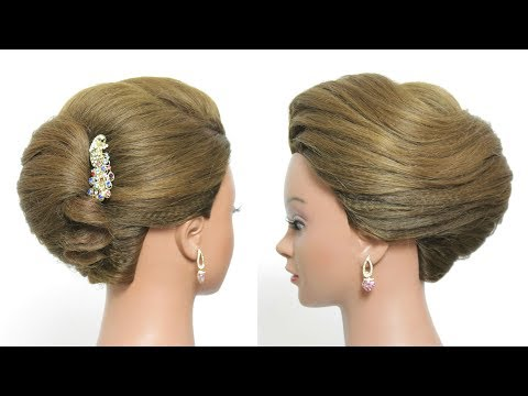 Hairstyles for long hair - Simple French Roll Hairstyle For Long Hair Tutorial. Quick Updo