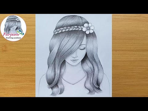 A girl with beautiful hair Pencil Sketch drawing  How to draw a girl