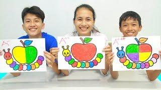 Apple and Caterpillar Warna Warni Belajar Menggambar dan Mewarnai untuk Anak
