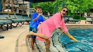 Video NERF GAME! Hide and Seek with Kids Water Gun near swimming pool. Den pretend play for children MP3, 3GP, MP4, WEBM, AVI, FLV Agustus 2018