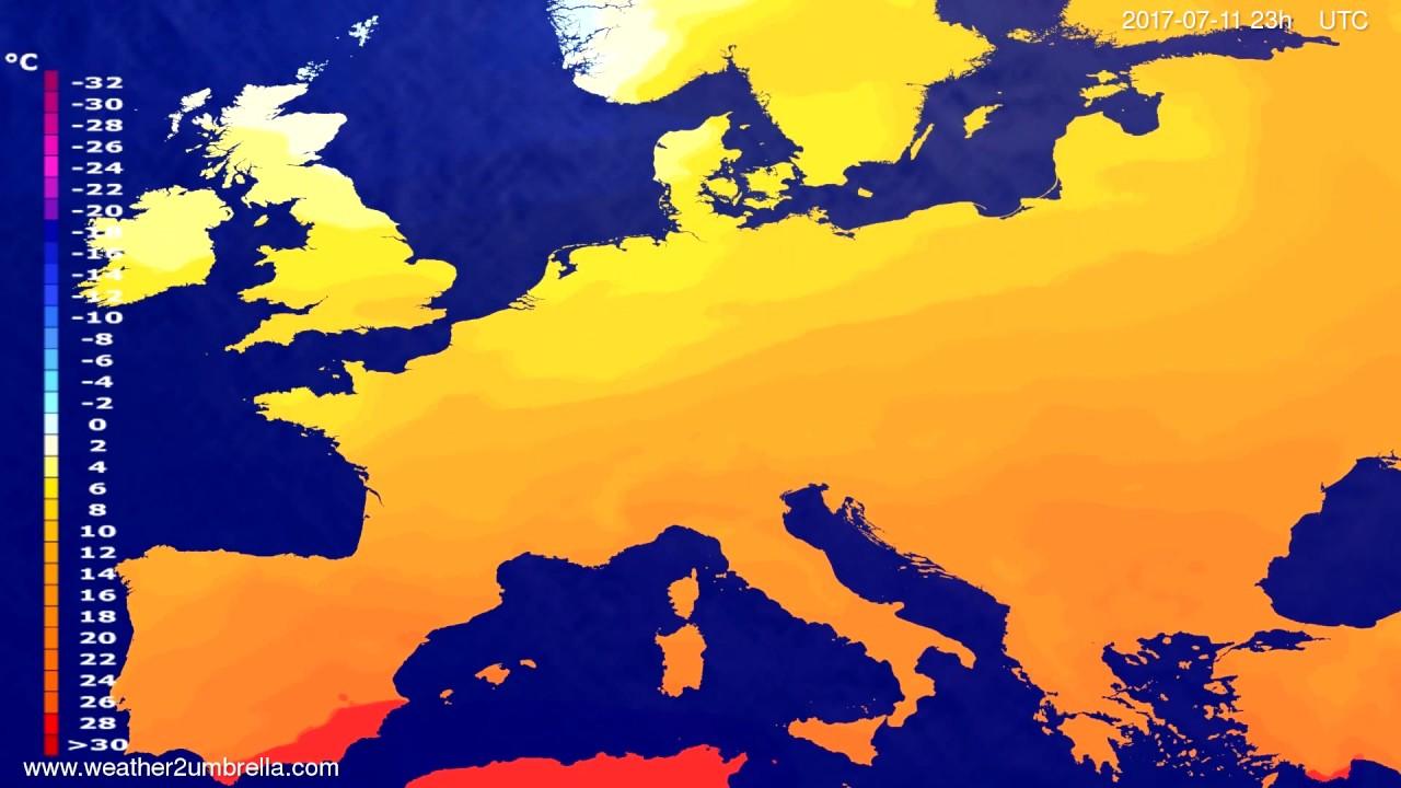 Temperature forecast Europe 2017-07-08