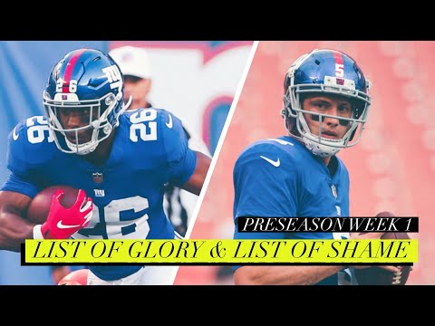 Recap Of The New York Giants & Cleveland Browns Preseason Game 1   List Of Glory & List Of Shame