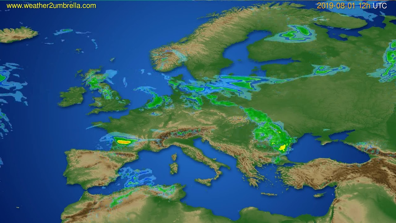 Radar forecast Europe // modelrun: 00h UTC 2019-08-01
